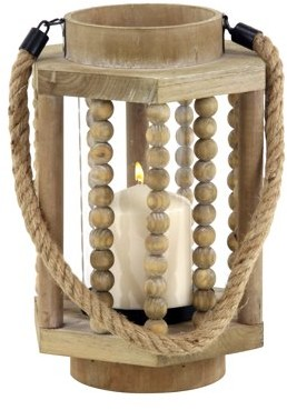 DecMode Decmode Rustic 11 X 8 Inch Wood And Glass Candle Lantern With A Rope Handle