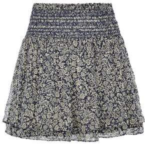Vanessa Bruno Athe' Holly Metallic Floral-Print Silk-Blend Chiffon Mini Skirt