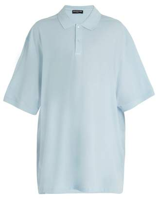 Balenciaga Oversized Cotton Pique Polo Shirt - Mens - Light Blue