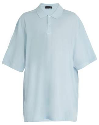 Balenciaga - Oversized Cotton Piqué Polo Shirt - Mens - Light Blue