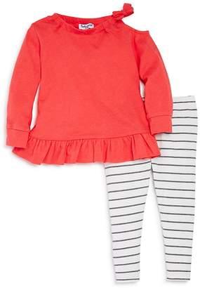 Splendid Girls' Cold-Shoulder Ruffled Top & Striped Leggings Set - Baby