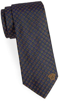 Versace Men's Floating Geometric Square Silk Narrow Tie