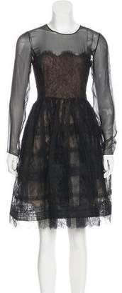 Oscar de la Renta Silk Lace-Trimmed Dress