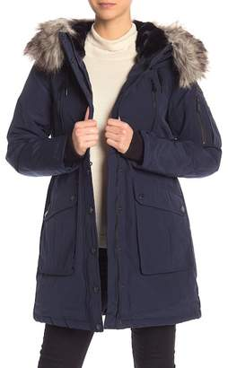 BCBGeneration Missy Snap Front Faux Fur Trim Hooded Parka