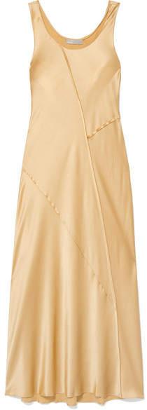 Vince - Paneled Silk-satin Midi Dress - Gold