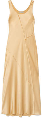 Vince Paneled Silk-satin Midi Dress - Gold