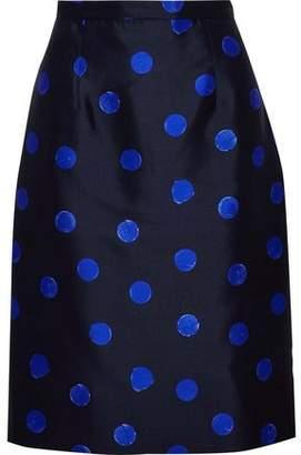 Oscar de la Renta Polka-Dot Silk And Cotton-Blend Faille Pencil Skirt