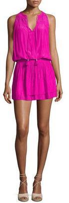 Ramy Brook Maggie Sleeveless Smocked Split-Neck Dress, Paradise Pink $375 thestylecure.com
