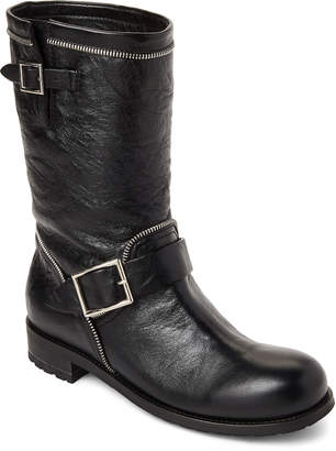 Jimmy Choo Black Dakar Leather Moto Boots