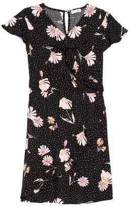 Love, Fire Print Wrap Dress