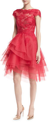 Monique Lhuillier Lace & Tulle Cap-Sleeve Fit & Flare Dress, Cherry