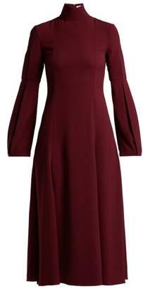 Emilia Wickstead Margorina High Neck Midi Dress - Womens - Burgundy