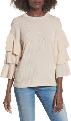 ALL IN FAVOR Ribbed Ruffle Sleeve Top