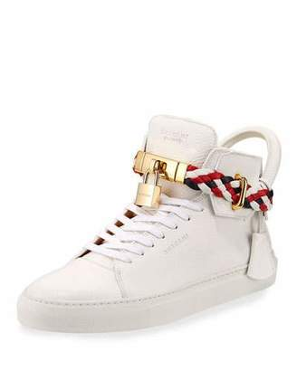 Buscemi Men's 100mm Leather Mid-Top Sneakers with Woven Strap, White