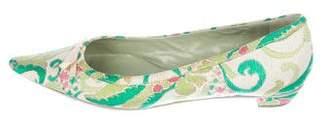 Prada Brocade Pointed-Toe Flats