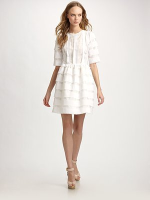 Cotton Voile Three-Quarter Sleeve Dress