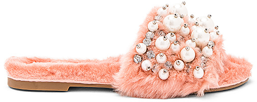 Jeffrey Campbell Facil Faux Fur Sandal in Pink