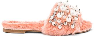 Jeffrey Campbell Facil Faux Fur Sandal in Pink $155 thestylecure.com