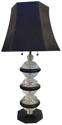 One Kings Lane Vintage Lucite & Wood Lamp with Custom Shade
