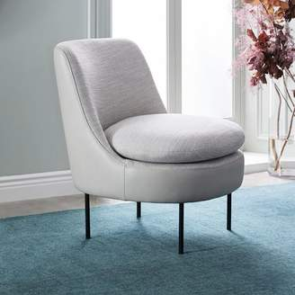 west elm Modern Curved Leather Back Slipper Chair