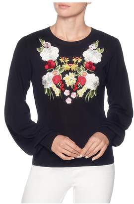 Magaschoni Long Sleeve Embroidered Pullover