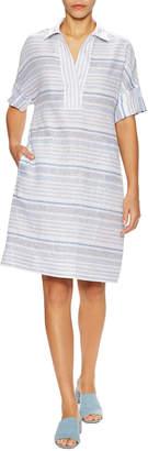 Lafayette 148 New York Mitra Linen Striped Shift Shirtdress