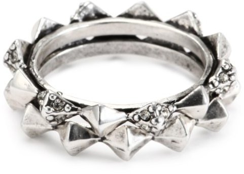 House of Harlow 1960 Silver-Plated Spike Stack Ring