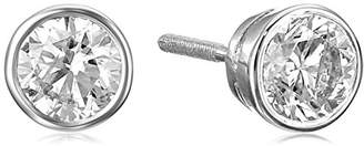 14k Gold Bezel Set Diamond with Screw Post and Back Stud Earrings (1 1/2cttw