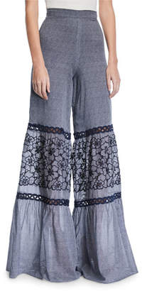 Alexis Lizbeth Wide-Leg Embroidered Crochet Pants