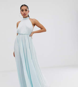 a8bf1d9d645 Asos DESIGN Petite Exclusive Halter Waisted Pleated Maxi Dress