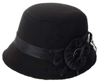 b3ea6df66c3 Church s Brcus Women Wool Felt Cloche Cap Bucket Top Hat Bowler Hats with  Flower Band