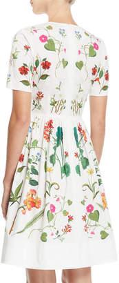 Oscar de la Renta Short-Sleeve Floral-Print Fit-and-Flare Day Dress