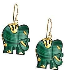 Nest Women's Malachite Carved Elephant Drop Earrings
