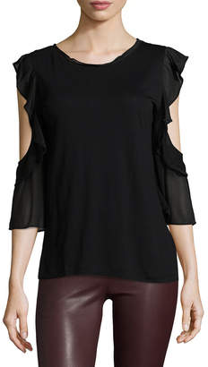 French Connection Ruffled Solid Blouse