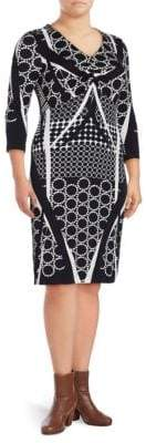 Basler Plus Printed V-Neck Sheath Dress