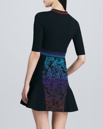 M Missoni Intarsia Brocade Fit-and-Flare Dress