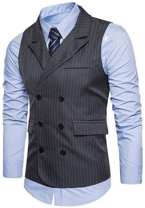 10b171bd604a Sinzelimin Men Formal Tweed Check Double Breasted Vest for Suit Waistcoat  Retro Slim Fit Suit Jacket