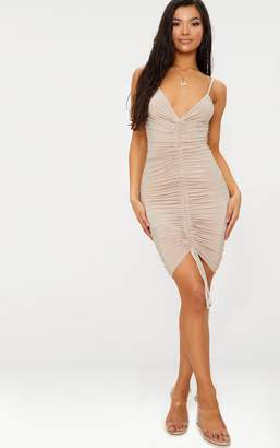 PrettyLittleThing Lucie Nude Strappy Ruched Midi Dress