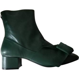 N°21 N21 Green Leather Ankle boots