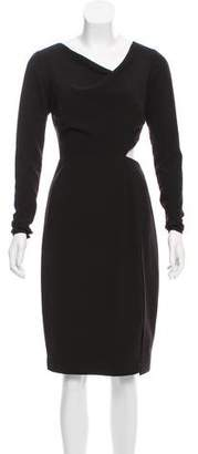 Halston Long Sleeve Cut-Out Dress