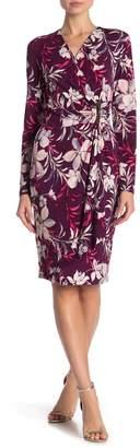 Modern American Designer Floral Mock Wrap Dress