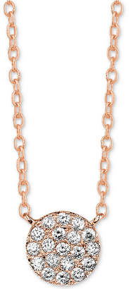 """Unwritten Cubic Zirconia Cluster Disc Pendant Necklace in Rose Gold-Flashed Sterling Silver 16"""" + 2"""" extender"""