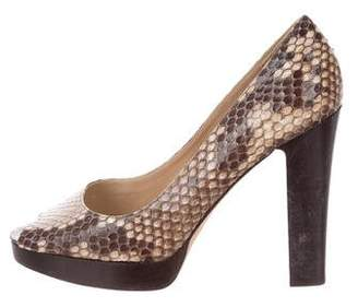 Michael Kors Snakeskin Peep-Toe Pumps