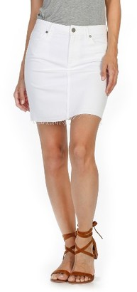 Women's Paige Elaina Released Hem Denim Skirt $169 thestylecure.com