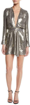 Ramy Brook Shaina Plunging Metallic Short Dress