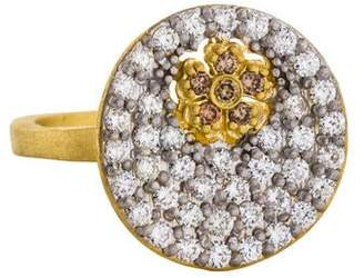 Farah Tanya 18K Diamond Flower Disc Ring