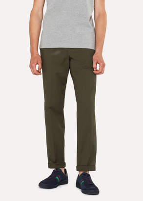 Paul Smith Men's Tapered-Fit Khaki Stretch-Cotton Chinos