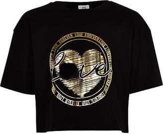 River Island Girls black faux fur gold foil print T-shirt