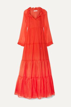 Eywasouls Malibu Cora Tiered Printed Chiffon Maxi Dress - Tomato red
