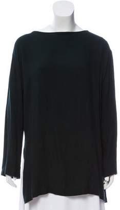 Black Crane Wool Blend Long Sleeve Top